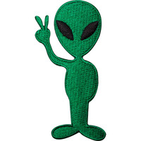Alien UFO Peace Sign NASA Sew Iron On Embroidered Patch