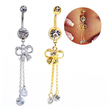 New Charming Dangle Crystal Navel Belly Ring Bling Barbell Button Ring Piercing Body Jewelry = 4672673092