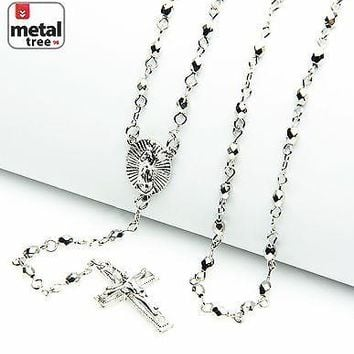 """Jewelry Kay style Rosario Silver Bead Guadalupe & Jesus Cross 25"""" Necklace Chain HR 700 S"""