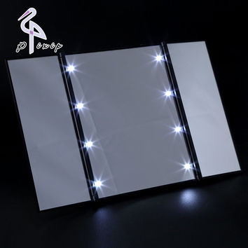8 LEDs Lighted Makeup Mirror Touch Screen Make-up 3 Folding Portable Adjustable Tabletop Countertop Make Up Backlit Mirror