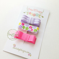 Newborn Baby Girl Hair Clips Light Purple Hot Pink and Floral Snap Clips / Small Hair Bow Accessory / Toddler Alligator Simple Barrettes