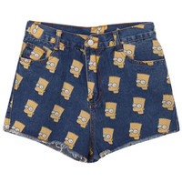 "ROMWE | ""Simpsion"" Dark Blue Shorts, The Latest Street Fashion"