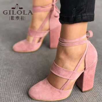 ONETOW Fashion High Heels Women Pumps Platform Women Shoes Lace Up Shoes Woman Best Quality T