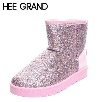 HEE GRAND Glitter Snow Boots Women Very Warm Ankle Boots Winter Shoes! FREE SHIPPING!