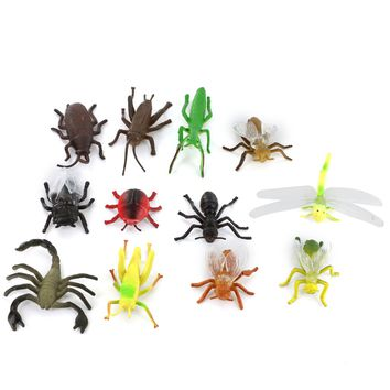 Plastic PVC Insect Animal Model Kids Toy 12pcs Multi-color Scorpion Bumblebee Cicada Cricket Ant Bee Model Building Kits Gift