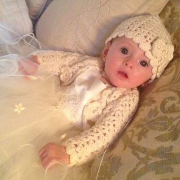 Crochet Baby Sweater & Hat Set - 100% Pure Merino Wool  - FREE SHIPPING - *CUSTOM MADE TO ORDER* Perfect for Weddings, Christenings etc