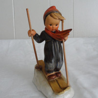 "ON SALE 1960s Vintage M. I. Hummel Figurine ""Little Skier"" 59 Tmk 3 Full Bee/5 1/4"" W  German Hummel Figurine Highly Collectible"