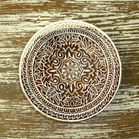 Hand Carved Wood Stamp: Indian Printing Block, Large Circle Flower Stamp, Round Wooden Ceramics Textile Pottery Stamp, India Decor