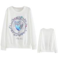 White Owl Printed Round Neck Sweatshirt