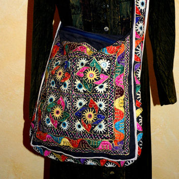 Vintage East Indian Banjara Tribe Hand Embroidered Mirrored Long Cross Body Strap Purse Bag