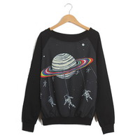 Spaceman Pattern Preppy Style Cotton Blend Color Matching Sweater For Women