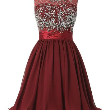 eDressit Women's Short Beading Homecoming Dress Rhinestones V-Back Prom Gown