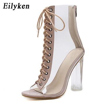 Eilyken 2019 New Sexy PVC Transparent Gladiator Sandals Peep Toe Shoes Clear Chunky heels Sandals  Women Boots Sandals