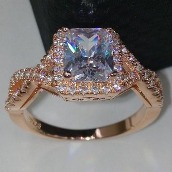 Fashion Jewelry princess cut 4Ct Cz 5A Zircon stone Rose Gold 925 Sterling silver Engagement Wedding Band Ring for Women