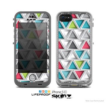 The Vibrant Colored Triangled 3d Shapes Skin for the Apple iPhone 5c LifeProof Case