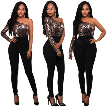 2017 Summer Sexy Oblique Shiny Sequins Stitching Siamese Jumpsuits Women Casual Party Full Length Overalls
