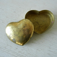 Vintage Brass Heart Shaped Box Trinket Dish