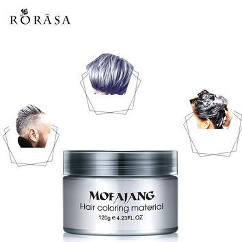 1Pc Disposable Modeling Dye Cream Gray Silver Ash Wax Hair Color Instant Hair Colour Pomades Waxes Washable White Purple Wax Mud