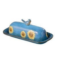 Grasslands Road Indian Summer Sunflower Blue Bird Butter Dish, 4-Inch by 8-5/8-Inch