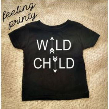Black Infant Toddler WILD CHILD shirt hippie gypsy shirt born to be free shirt