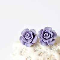 Roses Stud Earrings - Purple