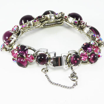 Purple Glass & Pink Rhinestones Bracelet Signed Weiss Oval Cabochons Pink Red AB Rhinestones Teardrops Chatons, Vintage Mid Century 1960s