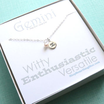 Gemini Medallion and Birthstone Zodiac Necklace, May Birthday, June Birthday, Pearl, Emerald, The Twins, Gemini Jewelry, Sentiment Card