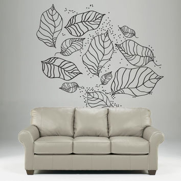 Foliage nature Wall Decal Vinyl Sticker Art Decor plant leaves tree autumn flowers pattern Mural Living Room Bedroom Modern Gift (i119)