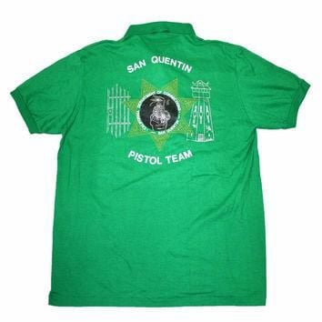 Vintage 80s San Quentin Pistol Team Green Polo Shirt Mens Size Medium