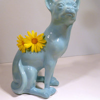 Handmade Ceramic Chihuahua Vase in Aqua Glaze. Altered vintage mold with modern color. Perfect gift for dog lovers and pet owners.