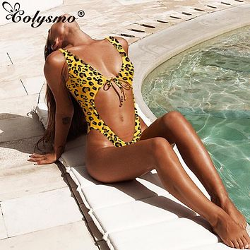 Colysmo Leopard One Piece Swimsuit Women Summer Deep V-neck Lace Up Beachwear Hollow Out Sexy Push Up Brazilian Monokini 2019