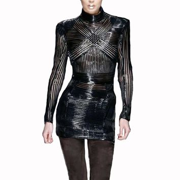 2018 New Arrival Black Sexy Women Party Dress Long Sleeve Mesh PU Leather Striped Bodycon Vestidos Celebrity Women Dress