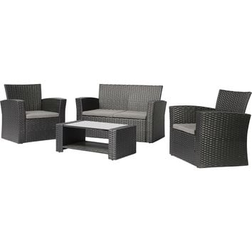 Black Resin Wicker 4-Piece Outdoor Patio Furniture Set