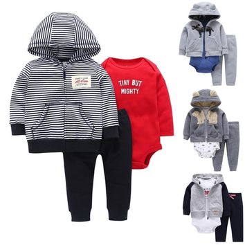 FREE SHIPPING New Bebes Boy 3 pcs Clothing Set (Animal Hooded Coat+Long Sleeve Bodysuit+Long Pants) 6 to 24 Months Baby