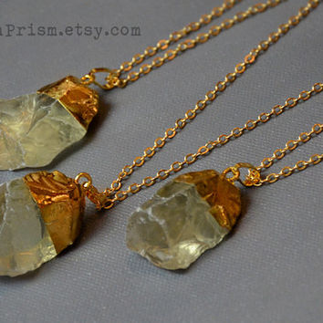 Raw Citrine Quartz Necklace | Gold Plated Gemstone | Gold Crystal Necklace | Gold Plated Quartz | Green Quartz | Green Crystal