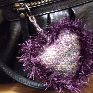 Moorland heather multi-coloured heart with purple feather-fur trim - keyring or bag charm - OOAK