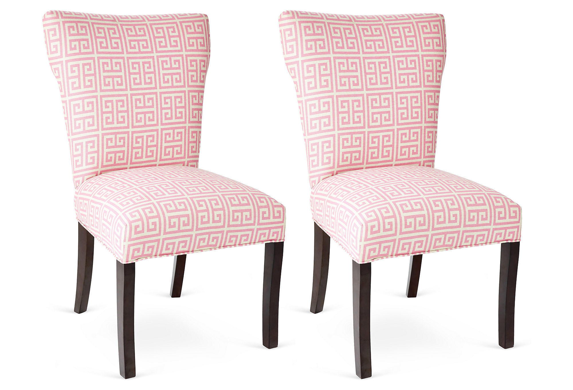 Pink chloe chairs pair dining chair from one kings lane of for Single dining room chairs