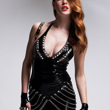 Latex Rockstar Halter Dress