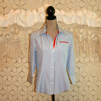 Red White & Blue Blouse Silk Stripe Blouse 4th of July 3/4 Sleeve Elbow Sleeve Button Up Women Shirts Size 12 Size 14 Large Womens Clothing