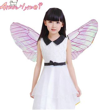 Hot Sale Kids Girls Fairy Princess Elf Butterfly Wings Cosplay Party Costume For Halloween Stage Performance Photography
