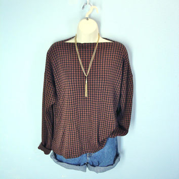 80s Soft Long Sleeve Tee Blouse Houndstooth Herringbone Light Weight Sweater