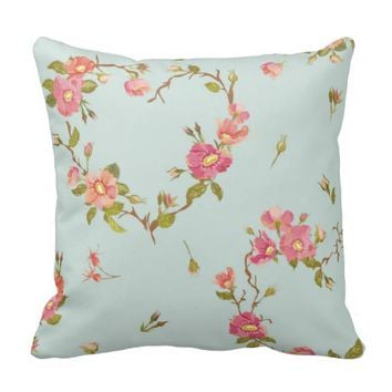 teal,pink,floral,cute,flowers,pattern,girly,trendy throw pillow