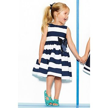 Summer elegant striped baby dress with bowknot/2016 New Arrived Good Quality Casual Girl Dress