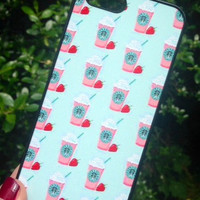 Iphone 4 4S Phone Case Starbucks Strawberry Coffee Cup Print Hipster Phone Cover