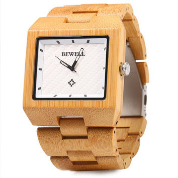 Bewell Man Wooden Watch  Gift Bangle Quartz Watch With Calendar Display Role Men Relogio Masculino Watches