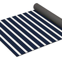 Nautical Navy and White Horizontal Stripes Eco Friendly Luxurious Yoga Mat with Carrying Bag