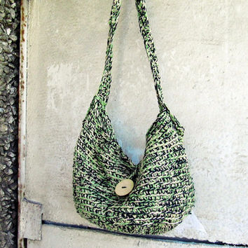 Boho Chic Organic Cotton Melange Green Crochet Crossbody Hobo Bag - Summer Trend - Hippy - Rustic Bag - Eco Friendly - Gift for Her