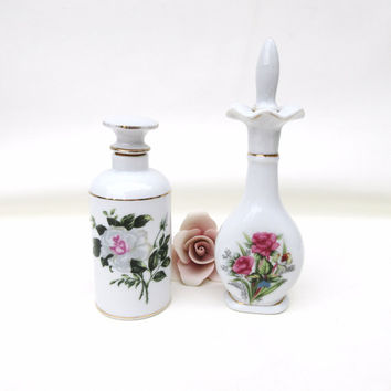 Vintage Perfume Bottles / Porcelain Scent Bottles / Rose Vanity Bottles, Perfume Decanters - Lot of 2