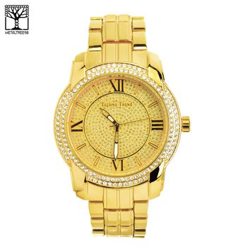 Jewelry Kay style Men's CZ Bling Bling Fashion 14k Gold Plated Metal Band Hip Hop Watch WM 1345 G