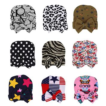 1PC Newborn Baby Hat Caps Cotton Hospital Children's Hats Hat For Boy Girl with Bow Soft Knit Baby Hat Children Hats For Girls